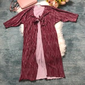 LulaRoe Burgundy Shirley Shimmer Kimono Sweater